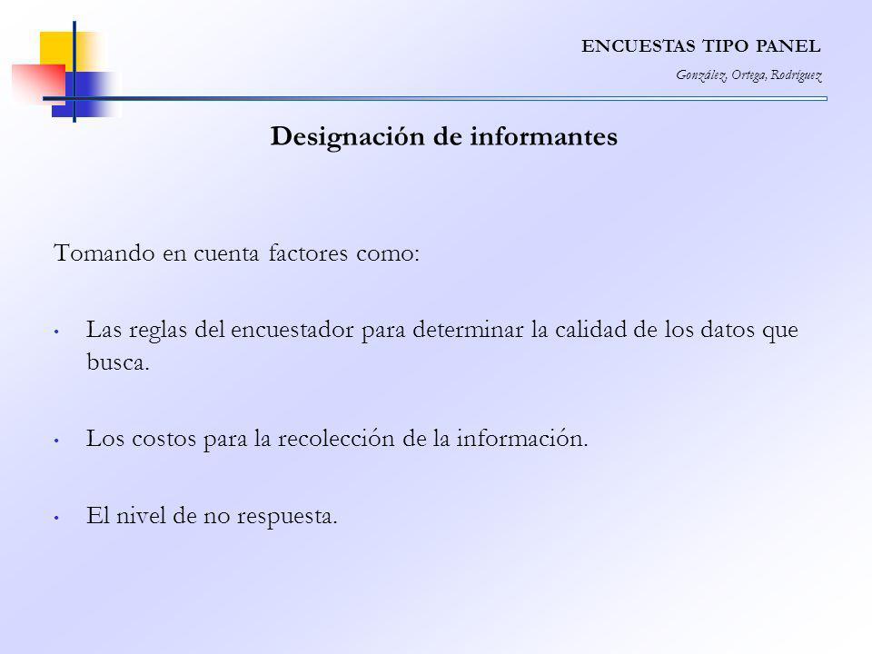 Designación de informantes Tomando en cuenta factores como: Las reglas del encuestador para determinar la calidad de los datos que busca. Los costos p