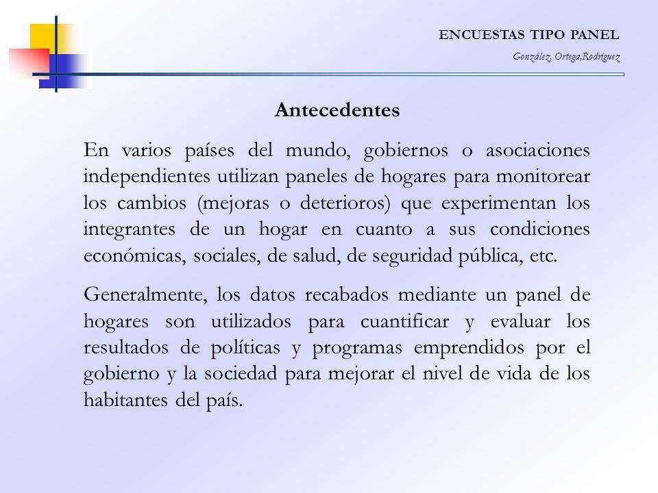 ENCUESTAS TIPO PANEL González, Ortega,Rodríguez Antecedentes En varios países del mundo, gobiernos o asociaciones independientes utilizan paneles de h