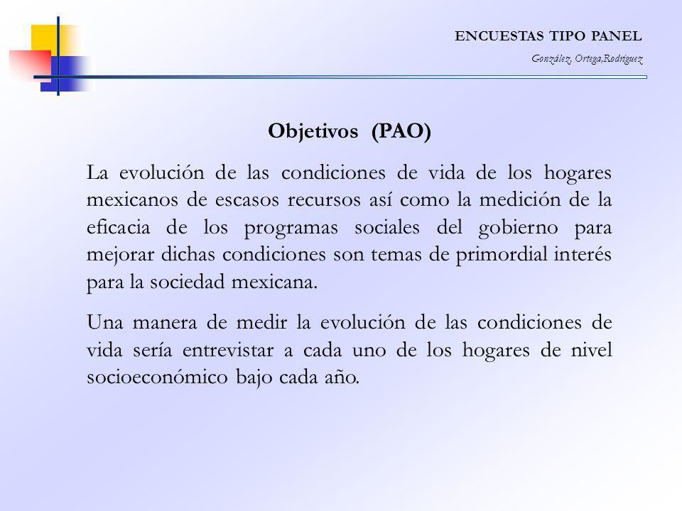 ENCUESTAS TIPO PANEL González, Ortega,Rodríguez Objetivos (PAO) La evolución de las condiciones de vida de los hogares mexicanos de escasos recursos a