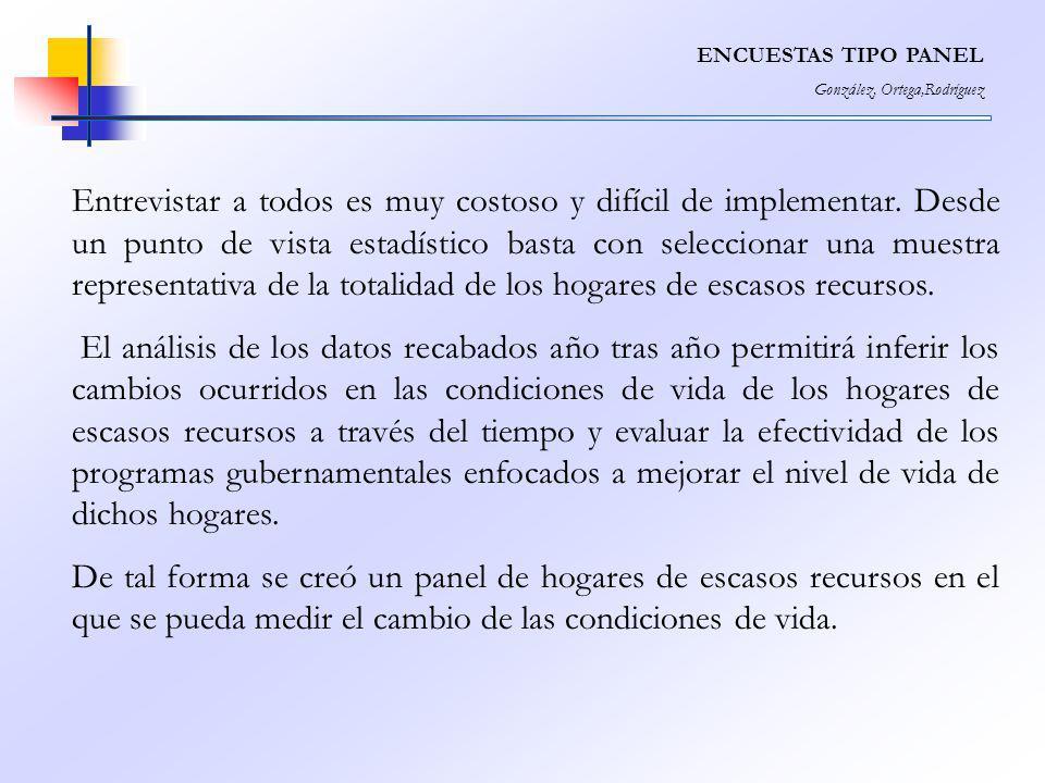 ENCUESTAS TIPO PANEL González, Ortega,Rodríguez Entrevistar a todos es muy costoso y difícil de implementar. Desde un punto de vista estadístico basta