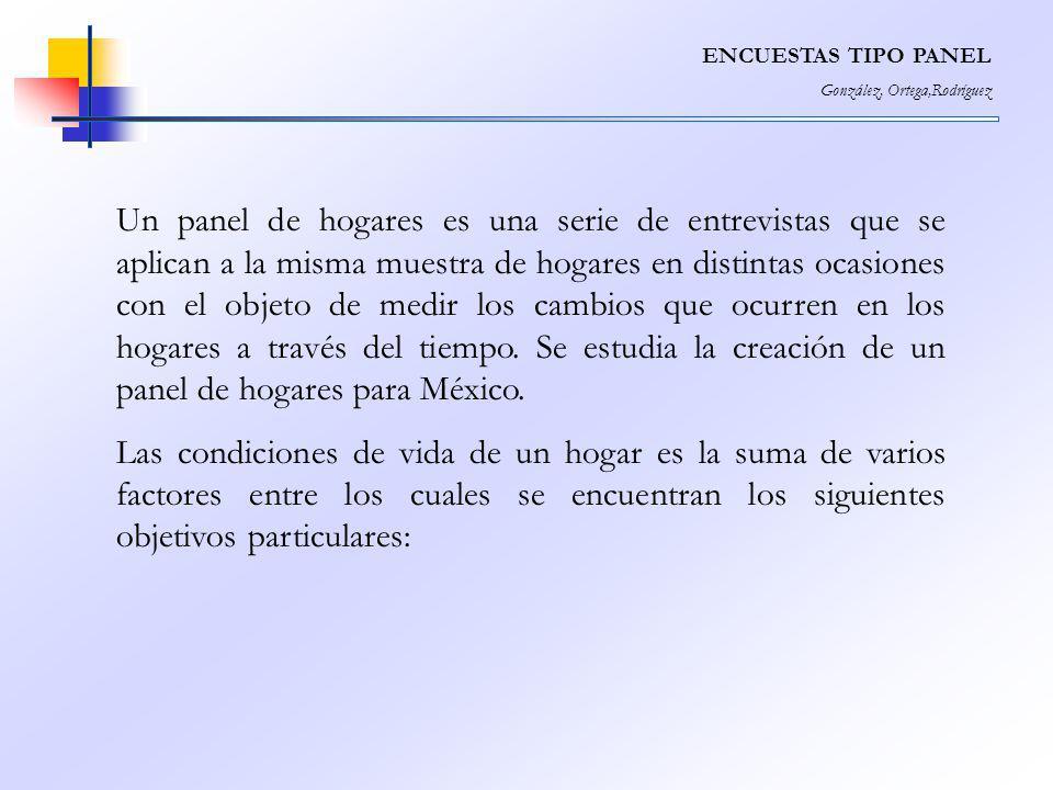 ENCUESTAS TIPO PANEL González, Ortega,Rodríguez Un panel de hogares es una serie de entrevistas que se aplican a la misma muestra de hogares en distin