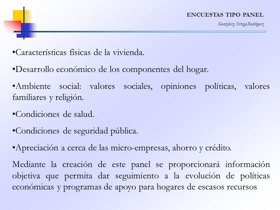 ENCUESTAS TIPO PANEL González, Ortega,Rodríguez Características físicas de la vivienda. Desarrollo económico de los componentes del hogar. Ambiente so
