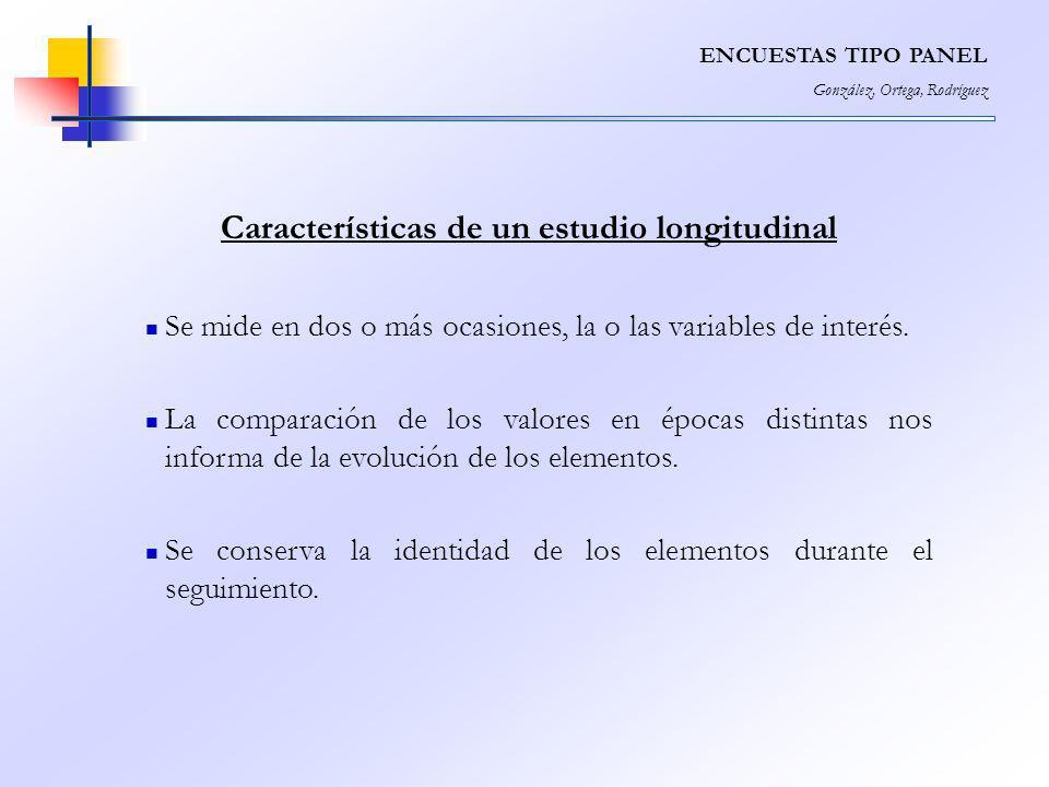 Características de un estudio longitudinal Se mide en dos o más ocasiones, la o las variables de interés. La comparación de los valores en épocas dist