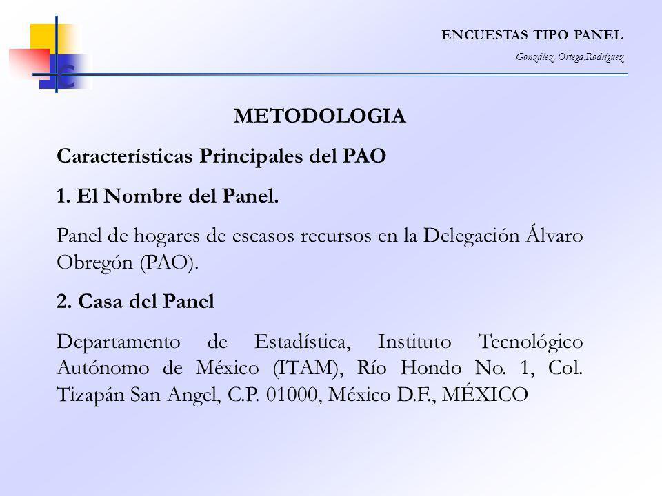 ENCUESTAS TIPO PANEL González, Ortega,Rodríguez c METODOLOGIA Características Principales del PAO 1. El Nombre del Panel. Panel de hogares de escasos