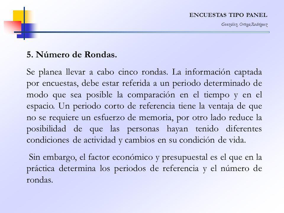 ENCUESTAS TIPO PANEL González, Ortega,Rodríguez 5. Número de Rondas. Se planea llevar a cabo cinco rondas. La información captada por encuestas, debe