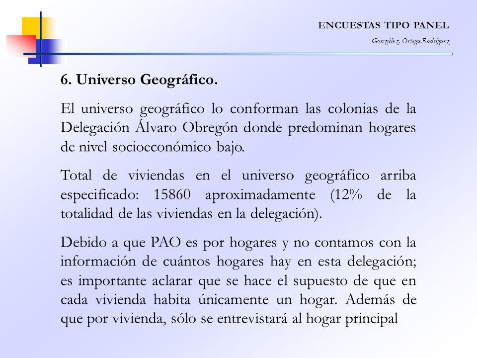 ENCUESTAS TIPO PANEL González, Ortega,Rodríguez 6. Universo Geográfico. El universo geográfico lo conforman las colonias de la Delegación Álvaro Obreg