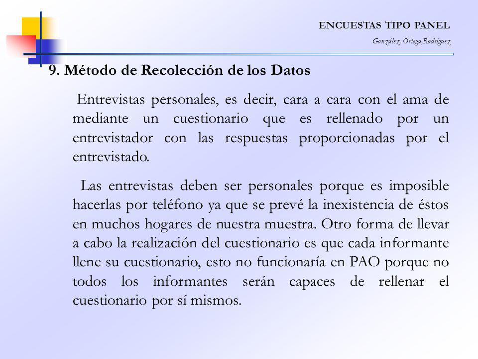 ENCUESTAS TIPO PANEL González, Ortega,Rodríguez 9. Método de Recolección de los Datos Entrevistas personales, es decir, cara a cara con el ama de medi