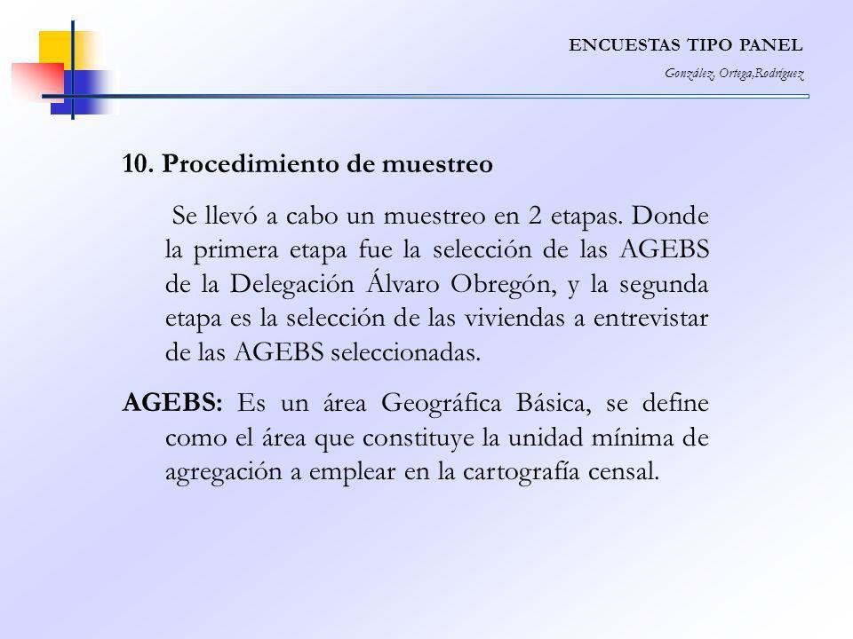 ENCUESTAS TIPO PANEL González, Ortega,Rodríguez 10. Procedimiento de muestreo Se llevó a cabo un muestreo en 2 etapas. Donde la primera etapa fue la s
