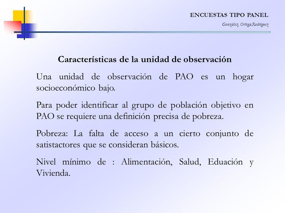 ENCUESTAS TIPO PANEL González, Ortega,Rodríguez Características de la unidad de observación Una unidad de observación de PAO es un hogar socioeconómic