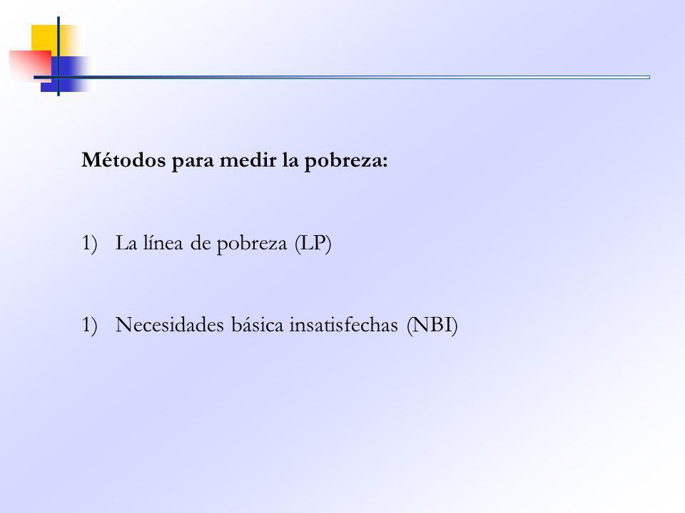 Métodos para medir la pobreza: 1)La línea de pobreza (LP) 1)Necesidades básica insatisfechas (NBI)