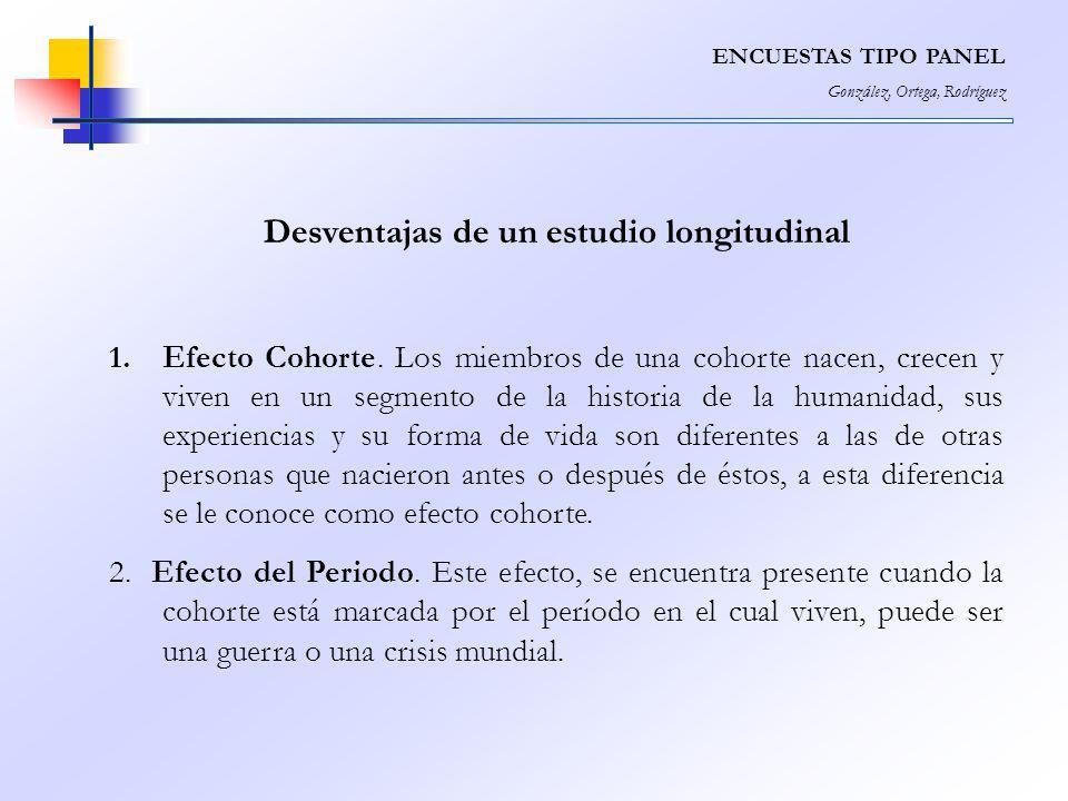 ENCUESTAS TIPO PANEL González, Ortega, Rodríguez Desventajas de un estudio longitudinal 1.Efecto Cohorte. Los miembros de una cohorte nacen, crecen y