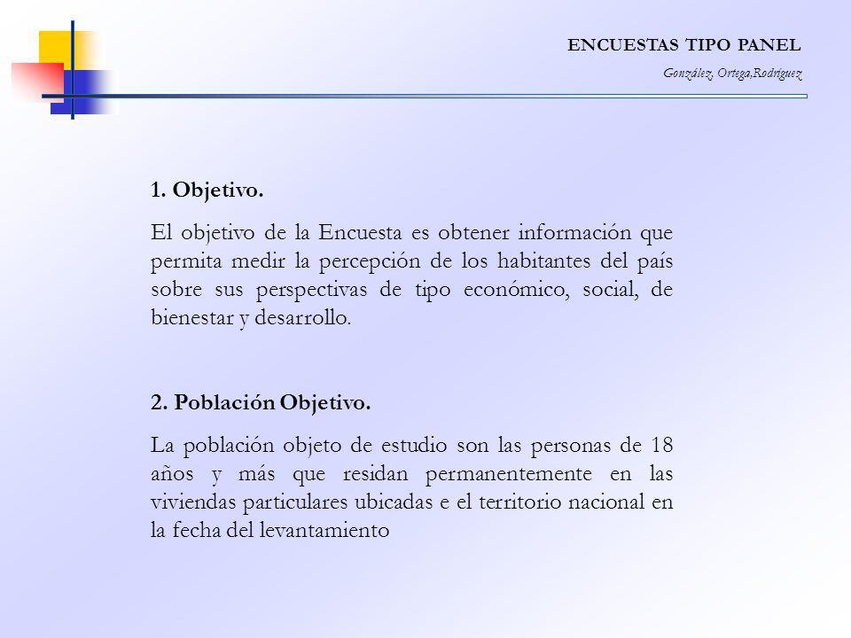 ENCUESTAS TIPO PANEL González, Ortega,Rodríguez 1. Objetivo. El objetivo de la Encuesta es obtener información que permita medir la percepción de los