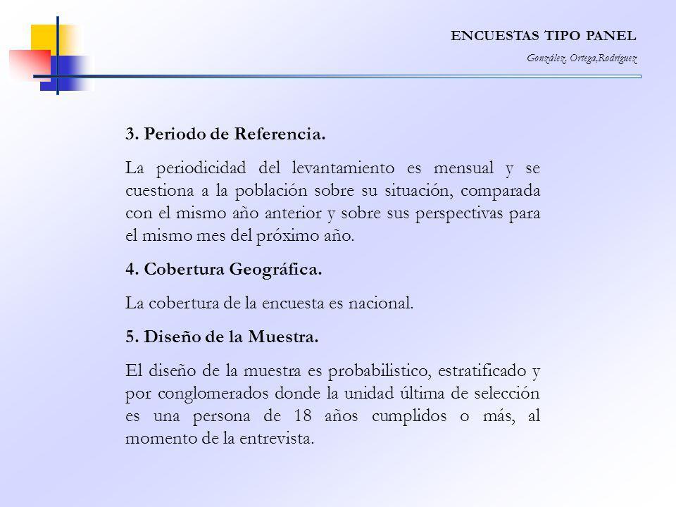 ENCUESTAS TIPO PANEL González, Ortega,Rodríguez 3. Periodo de Referencia. La periodicidad del levantamiento es mensual y se cuestiona a la población s