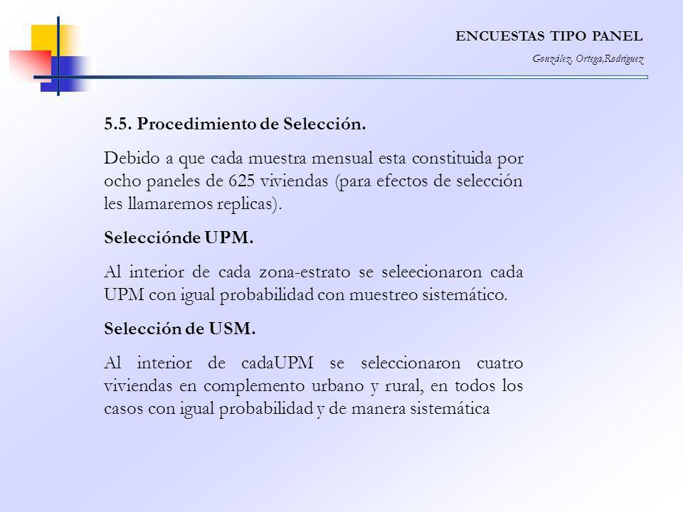 ENCUESTAS TIPO PANEL González, Ortega,Rodríguez 5.5. Procedimiento de Selección. Debido a que cada muestra mensual esta constituida por ocho paneles d