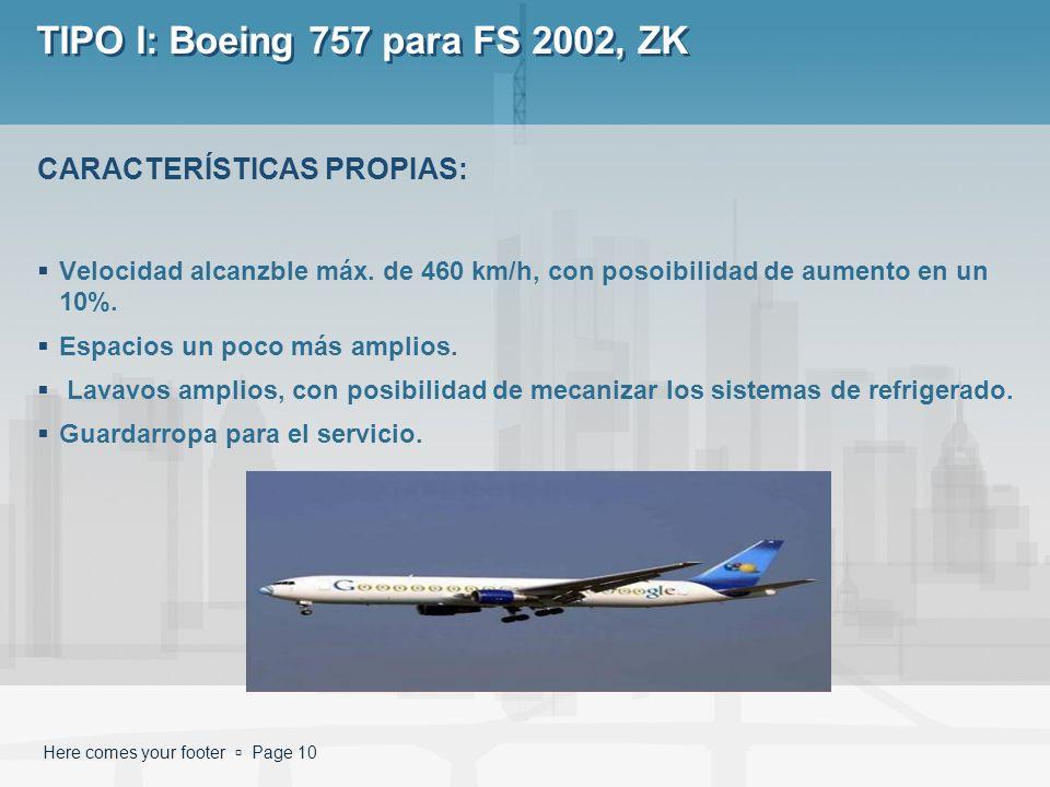 Here comes your footer Page 10 TIPO I: Boeing 757 para FS 2002, ZK Velocidad alcanzble máx. de 460 km/h, con posoibilidad de aumento en un 10%. Espaci