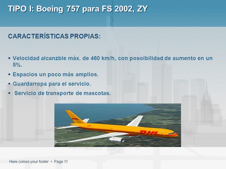 Here comes your footer Page 11 TIPO I: Boeing 757 para FS 2002, ZY Velocidad alcanzble máx. de 460 km/h, con posoibilidad de aumento en un 5%. Espacio