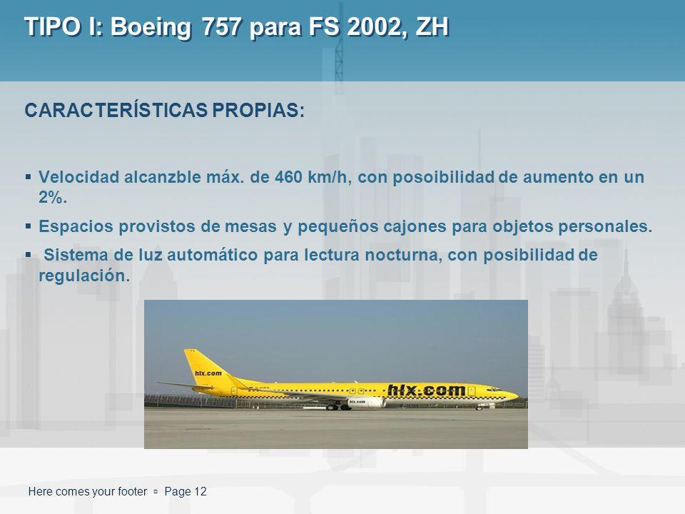 Here comes your footer Page 12 TIPO I: Boeing 757 para FS 2002, ZH Velocidad alcanzble máx. de 460 km/h, con posoibilidad de aumento en un 2%. Espacio