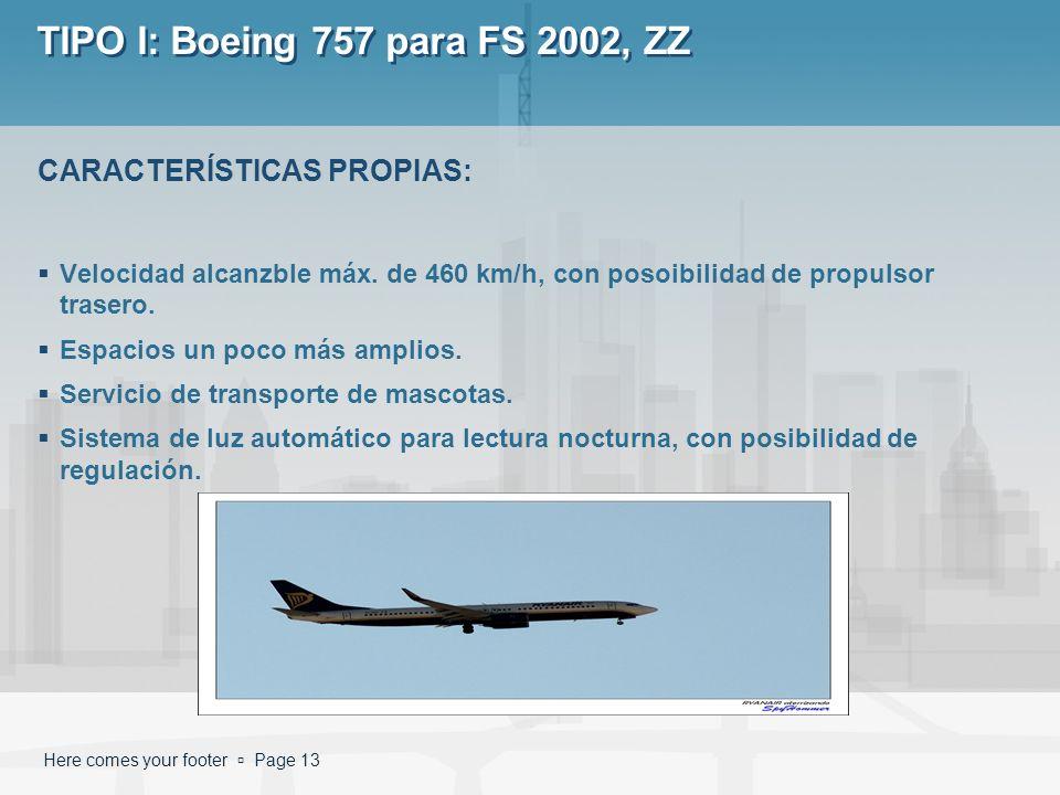 Here comes your footer Page 13 TIPO I: Boeing 757 para FS 2002, ZZ Velocidad alcanzble máx. de 460 km/h, con posoibilidad de propulsor trasero. Espaci