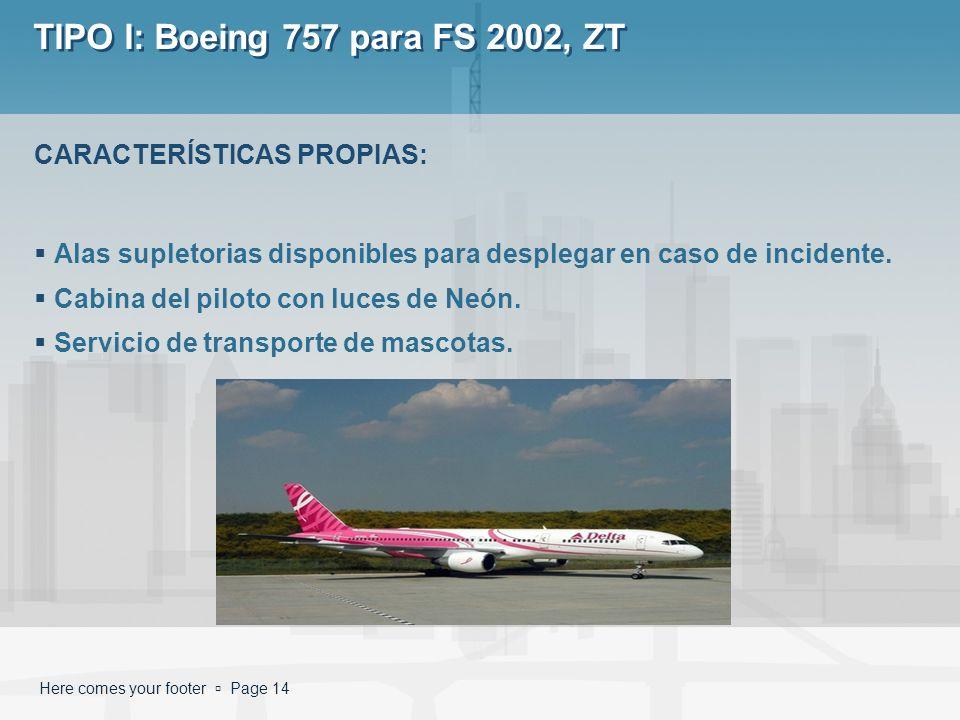 Here comes your footer Page 14 TIPO I: Boeing 757 para FS 2002, ZT Alas supletorias disponibles para desplegar en caso de incidente. Cabina del piloto