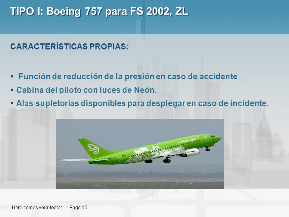 Here comes your footer Page 15 TIPO I: Boeing 757 para FS 2002, ZL Función de reducción de la presión en caso de accidente Cabina del piloto con luces