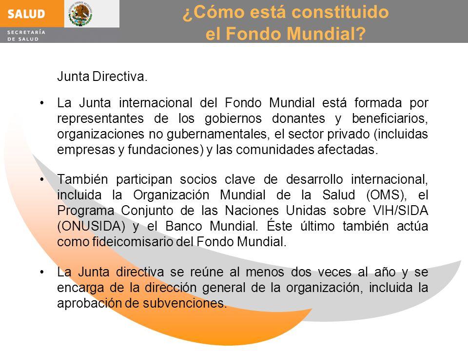 ¿Cómo está constituido el Fondo Mundial? Junta Directiva. La Junta internacional del Fondo Mundial está formada por representantes de los gobiernos do