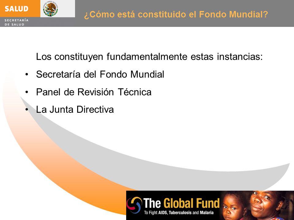 ¿Cómo está constituido el Fondo Mundial? Los constituyen fundamentalmente estas instancias: Secretaría del Fondo Mundial Panel de Revisión Técnica La