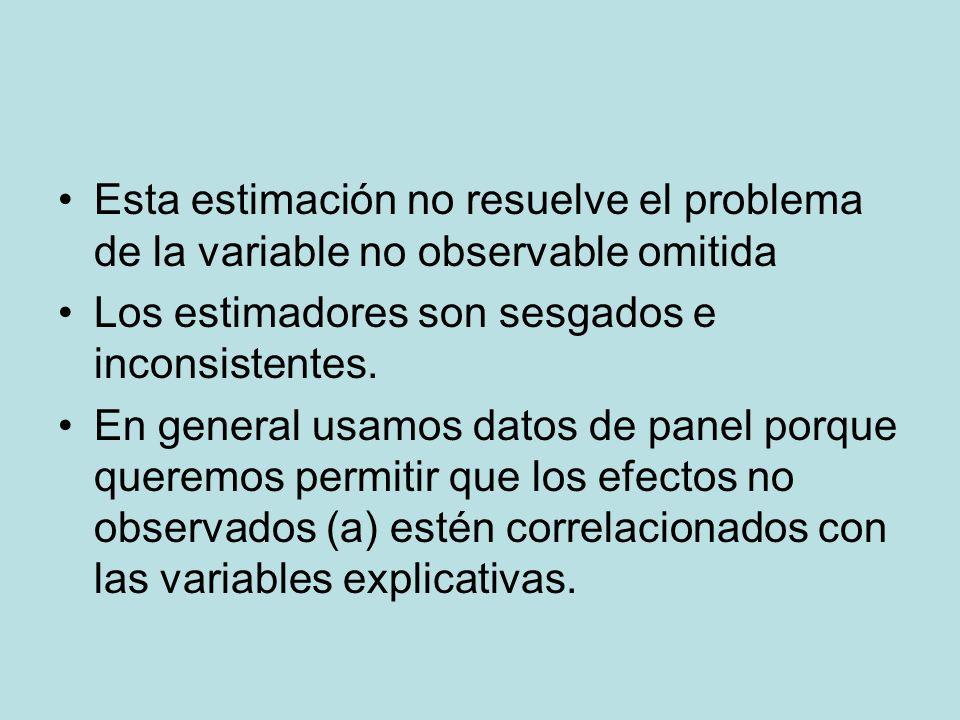 Esta estimación no resuelve el problema de la variable no observable omitida Los estimadores son sesgados e inconsistentes. En general usamos datos de