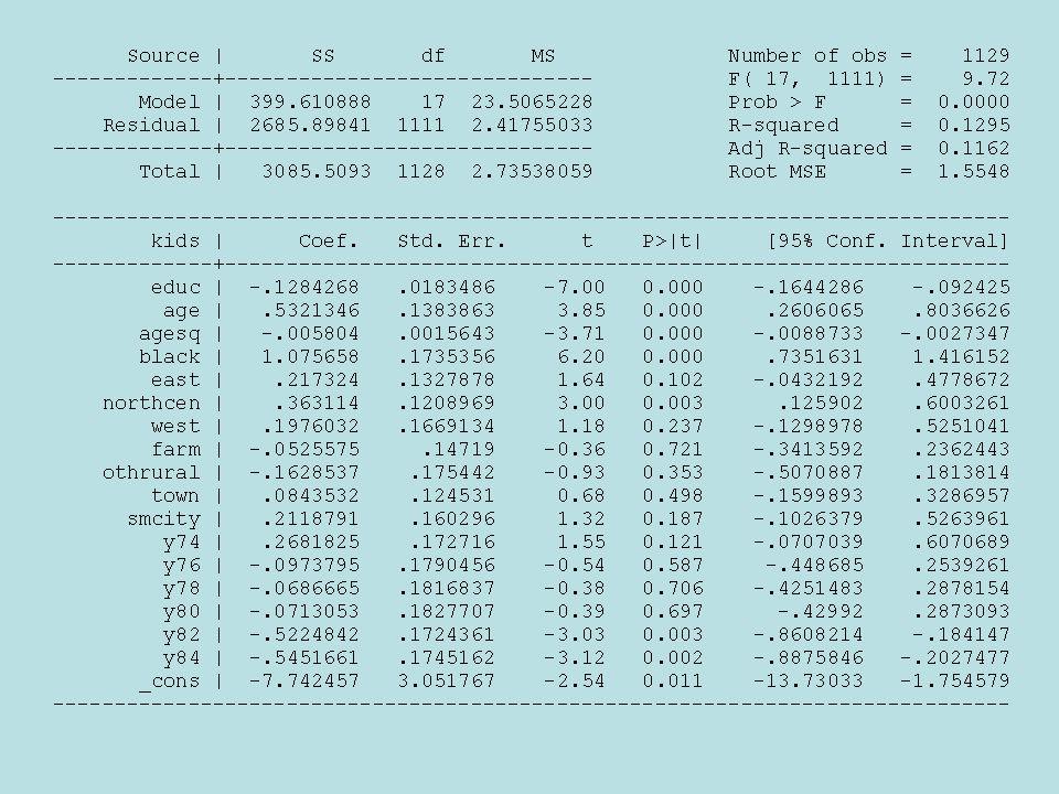 Datos de Panel Para Dos Períodos Dos períodos para el mismo individuo Ejemplo: tasa de desempleo y delincuencia para ciudades en 1982 y 1987 Que ocurre si usamos cross section?