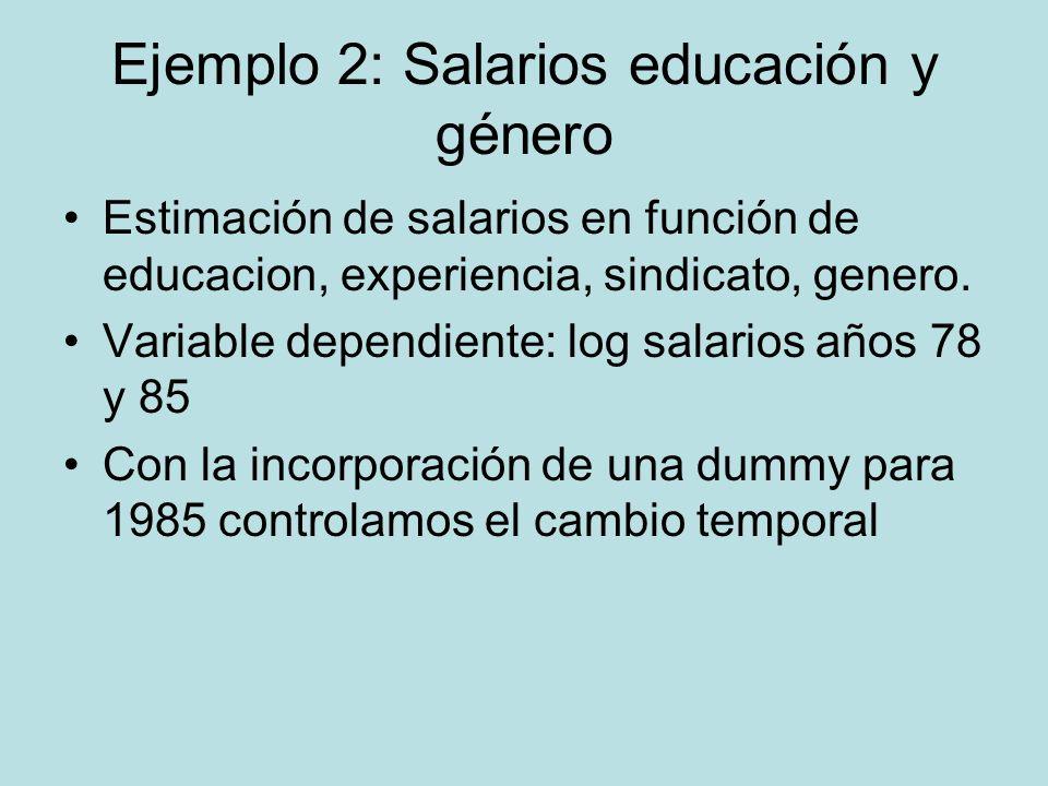 Ejemplo 2: Salarios educación y género Estimación de salarios en función de educacion, experiencia, sindicato, genero. Variable dependiente: log salar