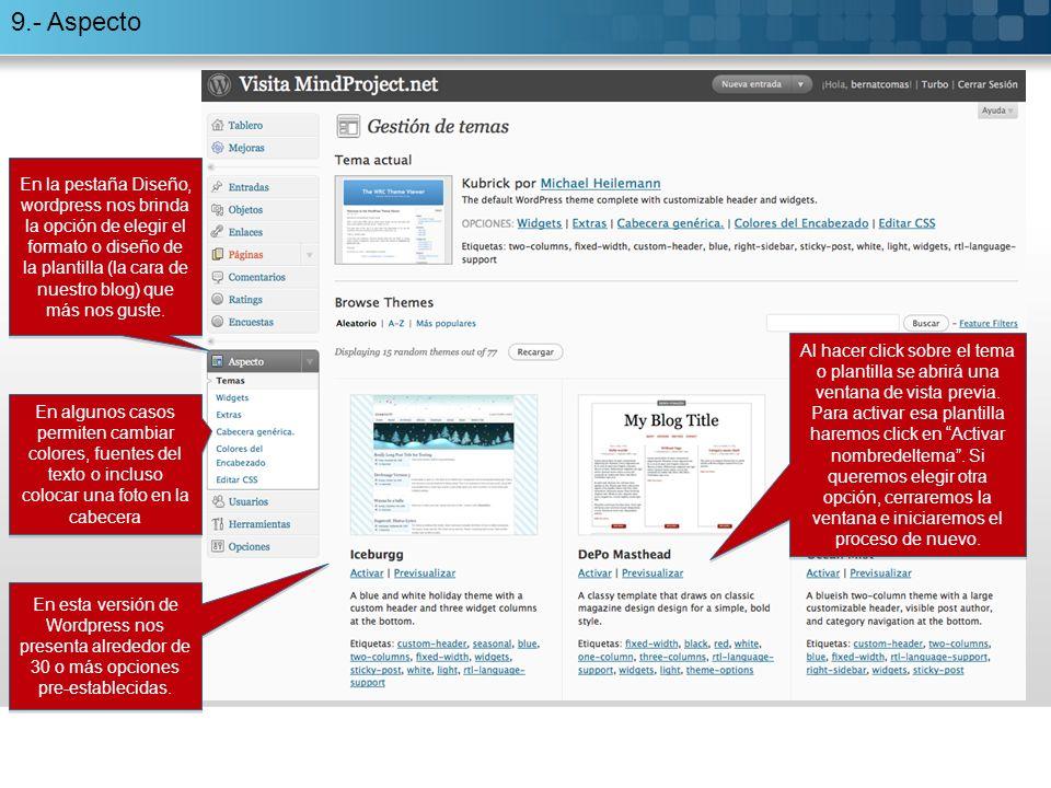 9.- Aspecto Al hacer click sobre el tema o plantilla se abrirá una ventana de vista previa.