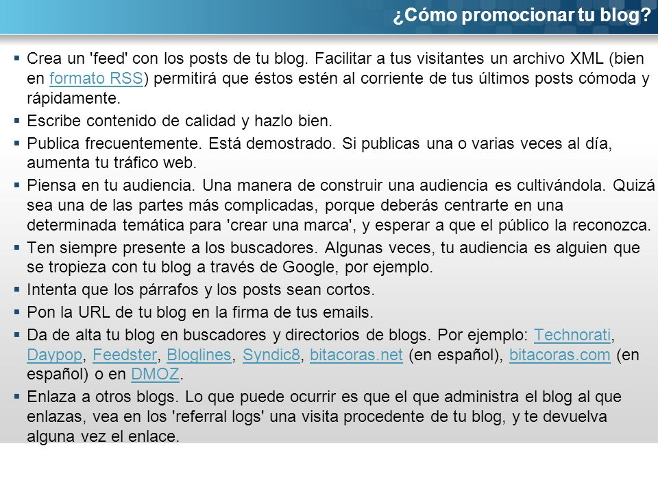 Crea un feed con los posts de tu blog.