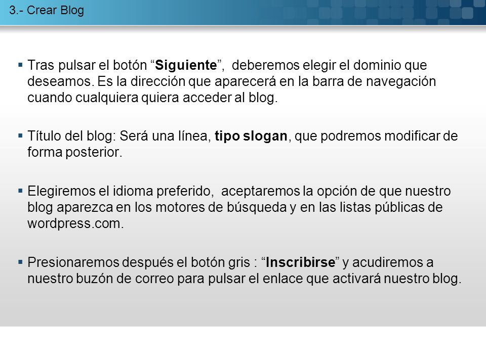 La cabecera identifica al nombre del blog.
