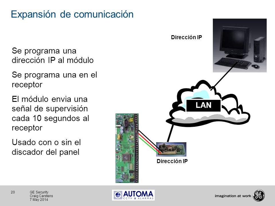 20 GE Security Craig Carstens 7 May 2014 Expansión de comunicación Se programa una dirección IP al módulo Se programa una en el receptor El módulo env