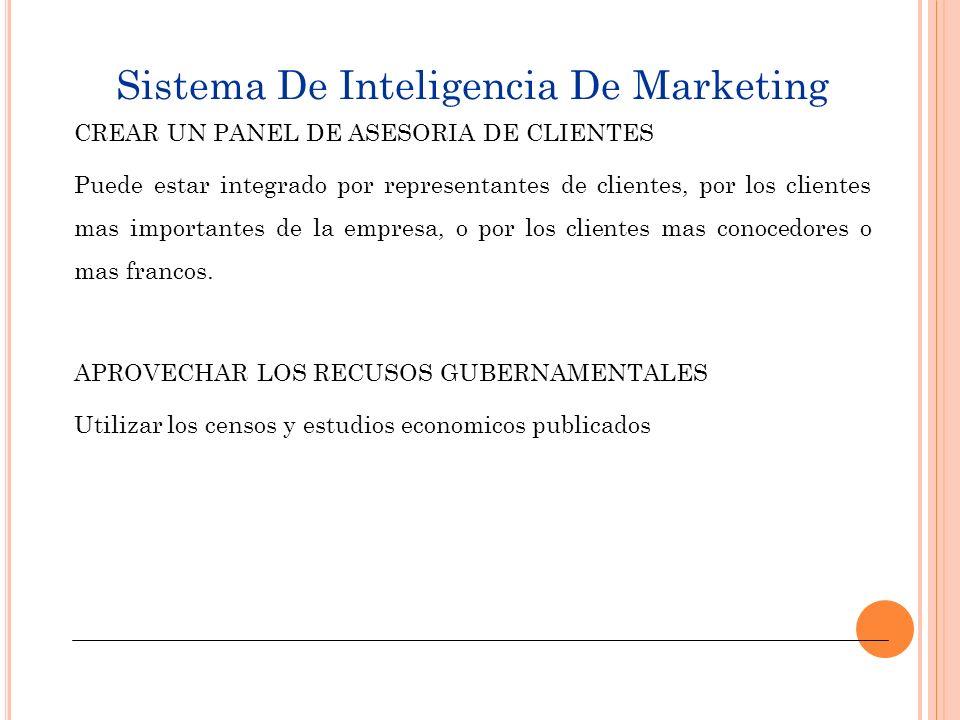 Sistema de Inteligencia de Marketing ADQUIRIR INFORMACION DE PROVEEDORES EXTERNOS EMPRESAINFORMACION QUE OFRECE NIELSEN COMPANYMARCAS EN TIENDAS MINORISTAS INDICES DE AUDIENCIA EN TV TIRAJE REVISTAS Y PERIODICOS MRCA INFORMATION SERVICES COMPRAS SEMANALES DE PRODUCTOS DE CONSUMO CONSUMOS DE ALIMENTOS EN EL SENO FAMILIAR SAMI BURKEINFO SOBRE ENVIOS A SUPERMERCADOS GRUPO SIMMONS MRB INFO ANUAL SOBRE MERCADOS DE TV, DEPORTES, MEDICAMENTOS; CON DATOS DESGLOSADOS POR SEXO, INGRESO, EDAD, PREFERENCIA DE MARCA