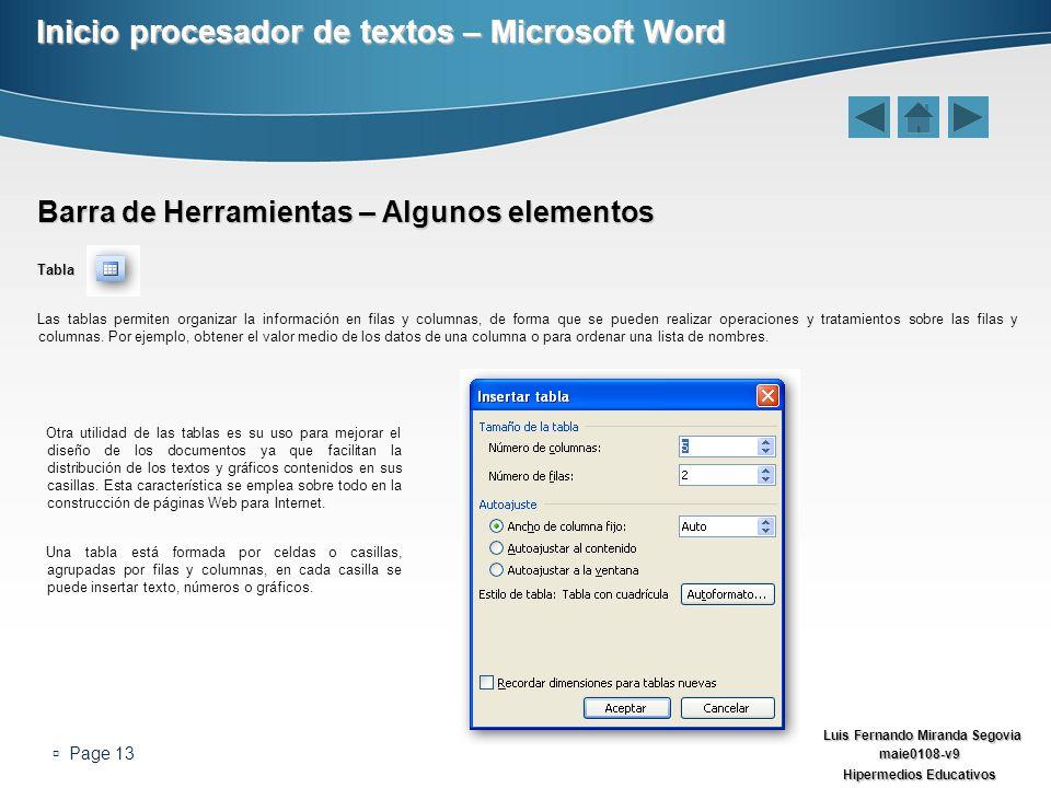 Luis Fernando Miranda Segovia maie0108-v9 Hipermedios Educativos Page 13 Inicio procesador de textos – Microsoft Word Barra de Herramientas – Algunos