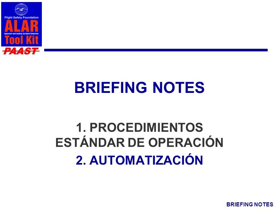 BRIEFING NOTES PAAST 1. PROCEDIMIENTOS ESTÁNDAR DE OPERACIÓN 2. AUTOMATIZACIÓN
