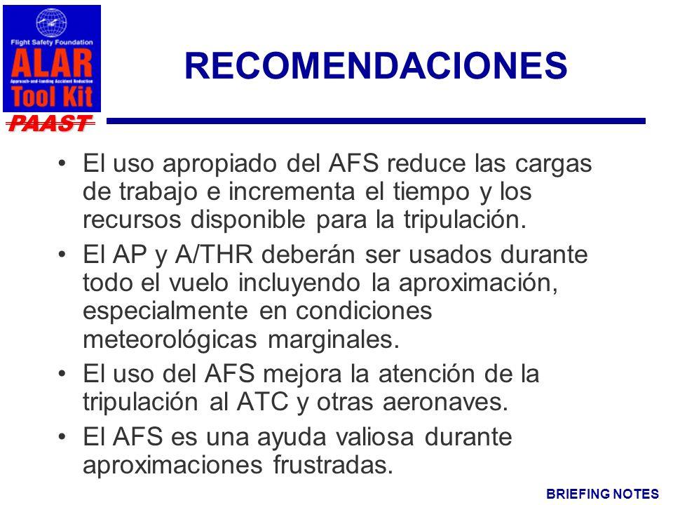 BRIEFING NOTES PAAST RECOMENDACIONES El uso apropiado del AFS reduce las cargas de trabajo e incrementa el tiempo y los recursos disponible para la tripulación.