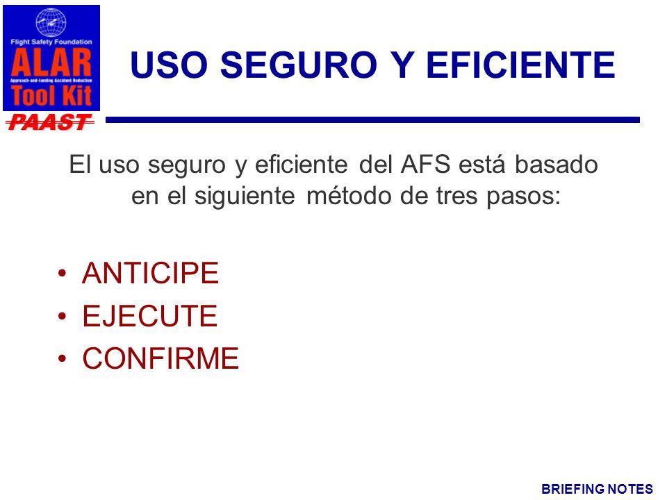 BRIEFING NOTES PAAST USO SEGURO Y EFICIENTE El uso seguro y eficiente del AFS está basado en el siguiente método de tres pasos: ANTICIPE EJECUTE CONFIRME