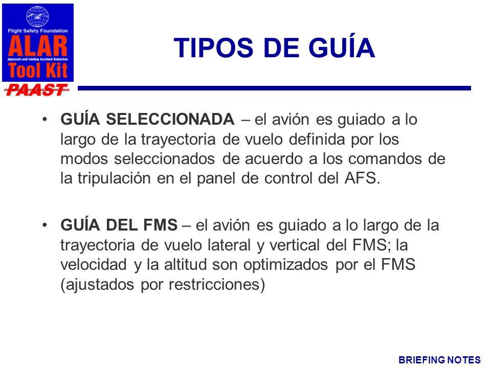 BRIEFING NOTES PAAST TIPOS DE GUÍA GUÍA SELECCIONADA – el avión es guiado a lo largo de la trayectoria de vuelo definida por los modos seleccionados de acuerdo a los comandos de la tripulación en el panel de control del AFS.