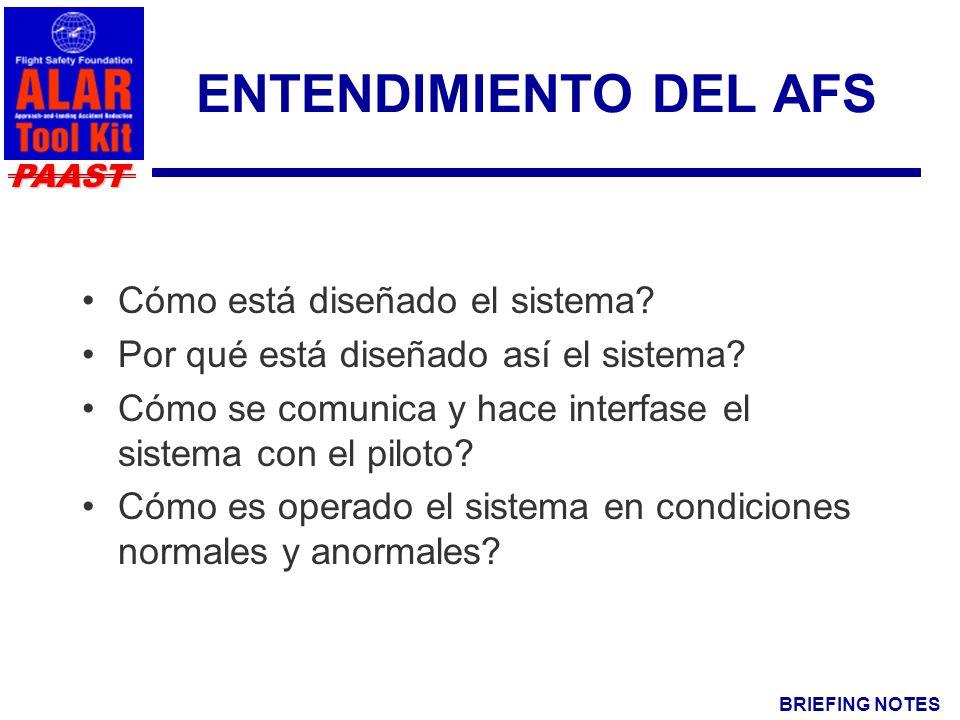 BRIEFING NOTES PAAST ENTENDIMIENTO DEL AFS Cómo está diseñado el sistema.
