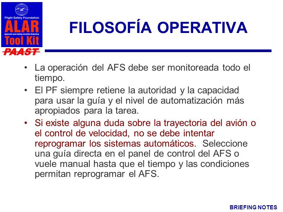BRIEFING NOTES PAAST FILOSOFÍA OPERATIVA La operación del AFS debe ser monitoreada todo el tiempo.