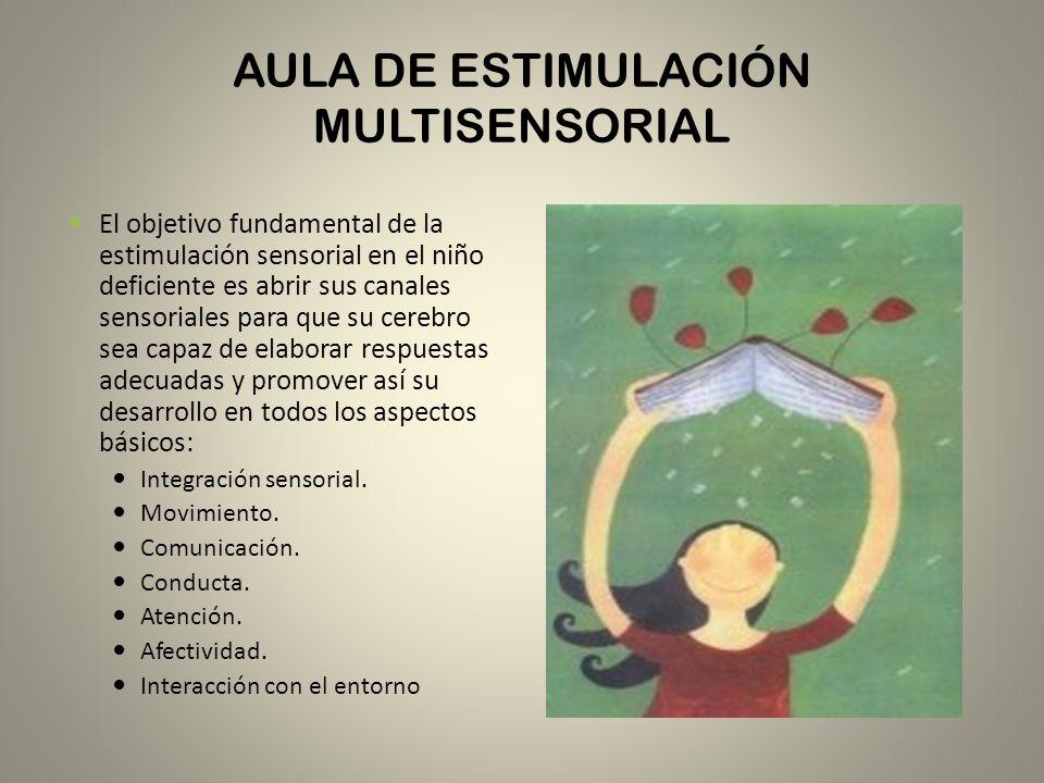 AULA DE ESTIMULACIÓN MULTISENSORIAL El objetivo fundamental de la estimulación sensorial en el niño deficiente es abrir sus canales sensoriales para q