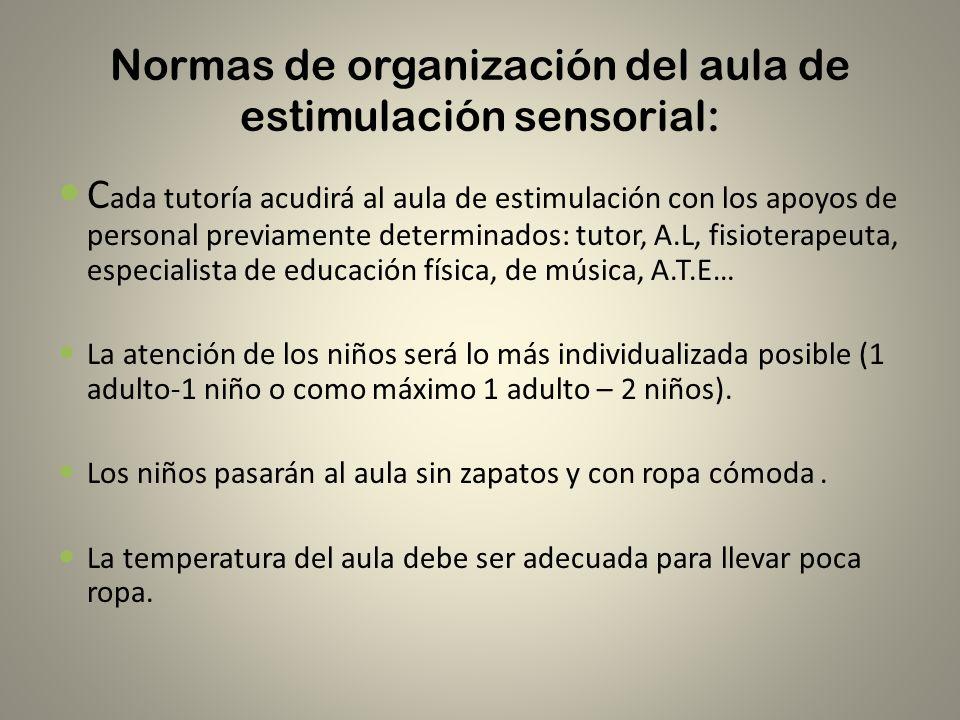 Normas de organización del aula de estimulación sensorial: C ada tutoría acudirá al aula de estimulación con los apoyos de personal previamente determ