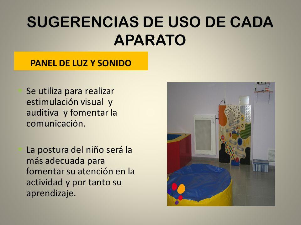 SUGERENCIAS DE USO DE CADA APARATO PANEL DE LUZ Y SONIDO Se utiliza para realizar estimulación visual y auditiva y fomentar la comunicación. La postur