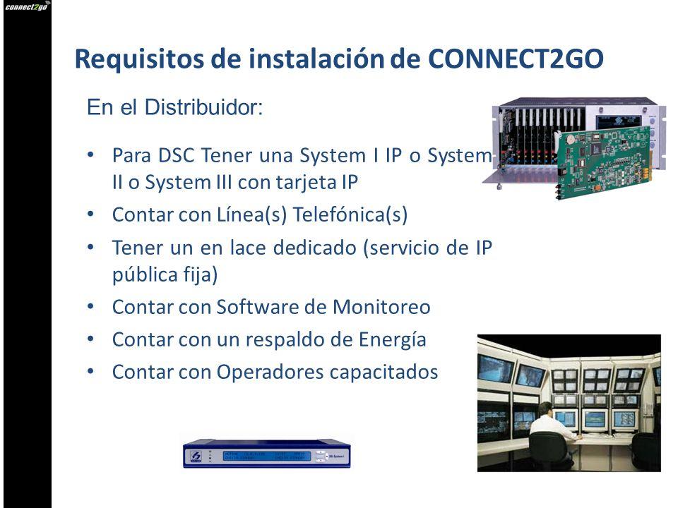 Requisitos de instalación de CONNECT2GO Para DSC Tener una System I IP o System II o System III con tarjeta IP Contar con Línea(s) Telefónica(s) Tener