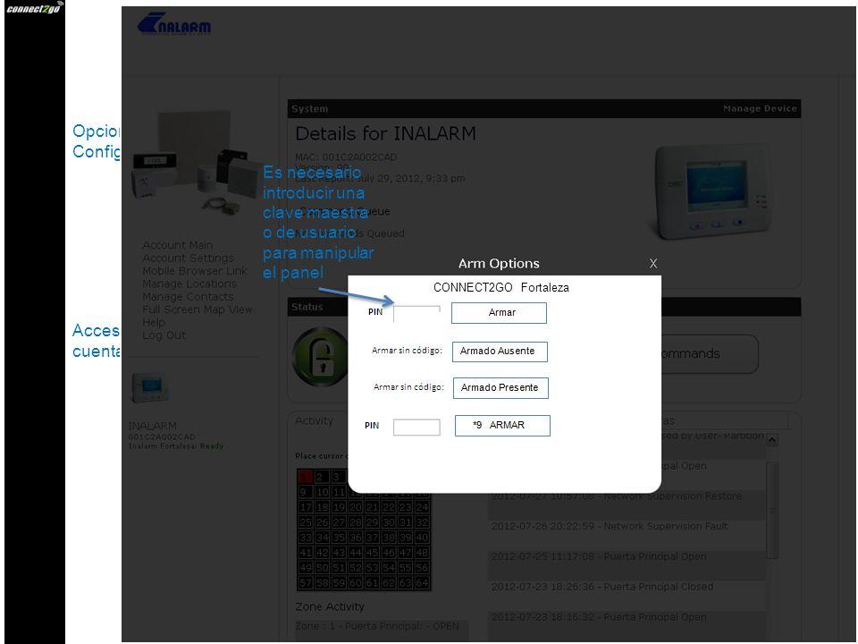 Opciones de Armado Cuenta Principal Configuración Cuenta Hipervínculo para Móvil Administrar Ubicaciones Administrar Contactos Vista Completa del Mapa