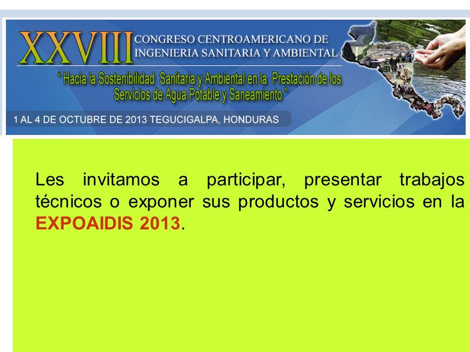 Les invitamos a participar, presentar trabajos técnicos o exponer sus productos y servicios en la EXPOAIDIS 2013.
