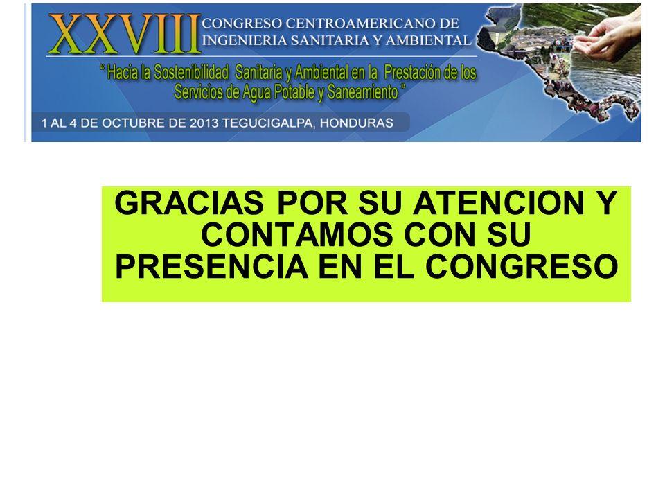 GRACIAS POR SU ATENCION Y CONTAMOS CON SU PRESENCIA EN EL CONGRESO