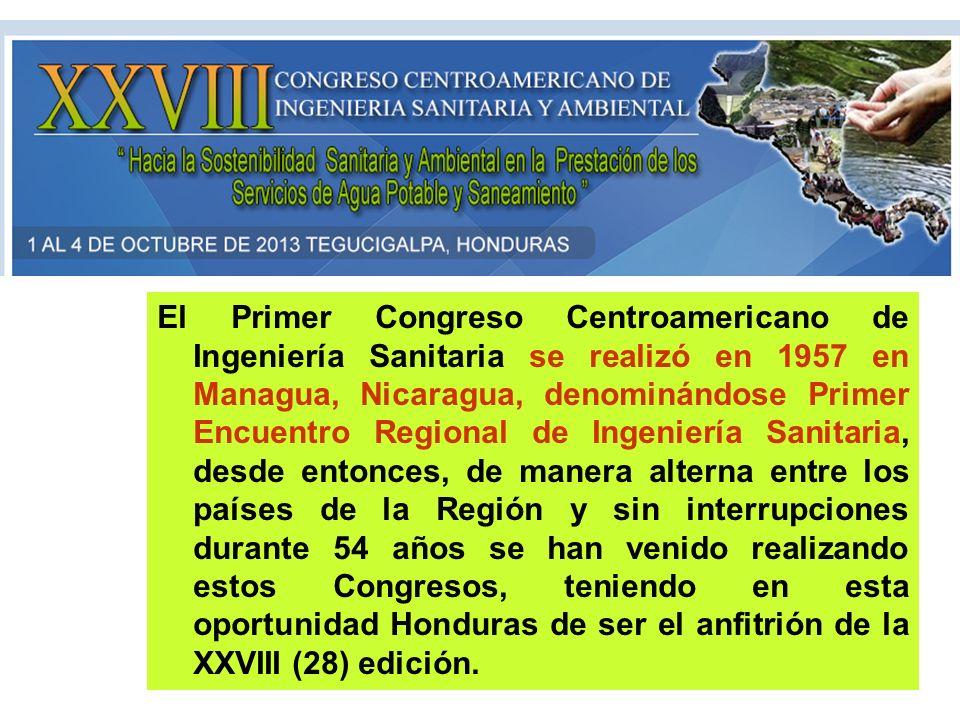 El Primer Congreso Centroamericano de Ingeniería Sanitaria se realizó en 1957 en Managua, Nicaragua, denominándose Primer Encuentro Regional de Ingeni