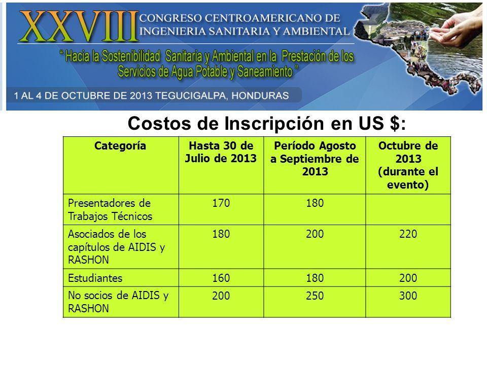 Costos de Inscripción en US $: CategoríaHasta 30 de Julio de 2013 Período Agosto a Septiembre de 2013 Octubre de 2013 (durante el evento) Presentadore
